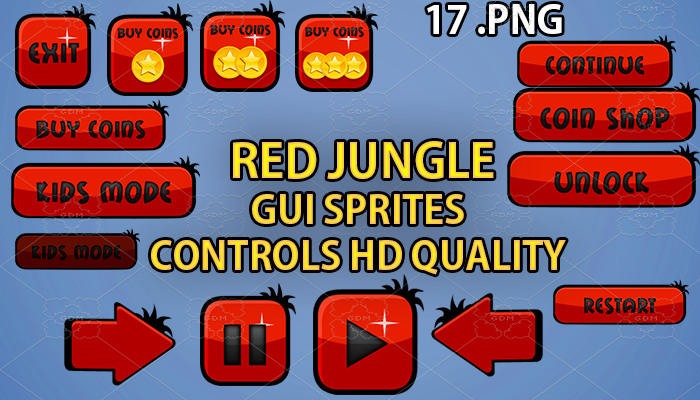 red jungle forest hud GUI hd quality 17 .png files