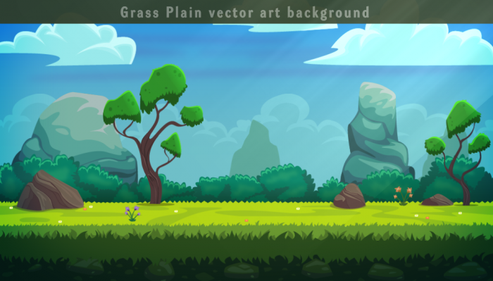 Grass plain Vector Background