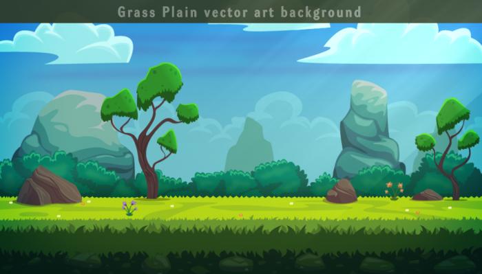Grass plain Vector Background