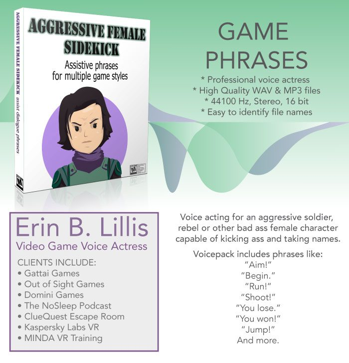 Aggressive Female – General game phrases Voicepack