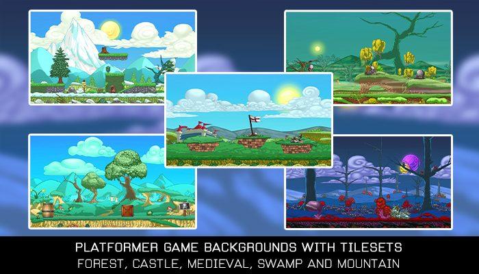 Platformer Game Backgrounds with Tilesets