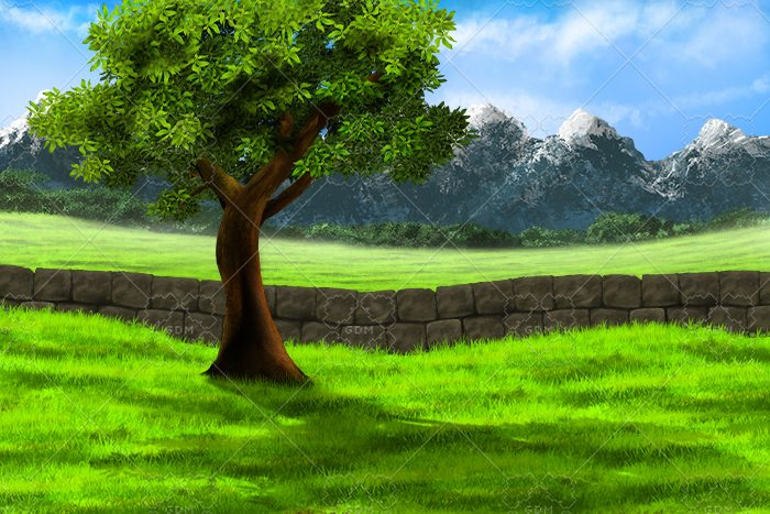 Tree by the wall background