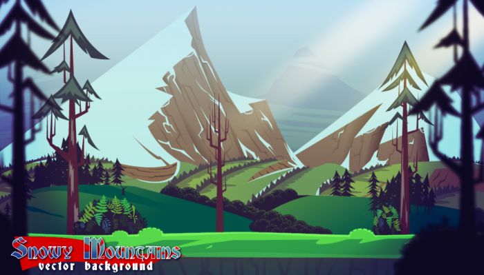 Snowy Mountains Vector Background