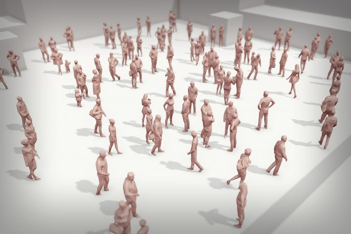 Lowpoly Crowd of People