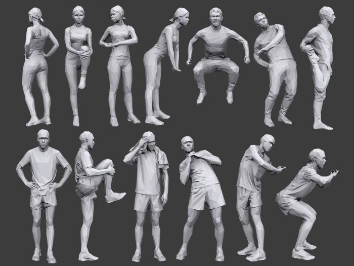 Lowpoly People Fitness Pack