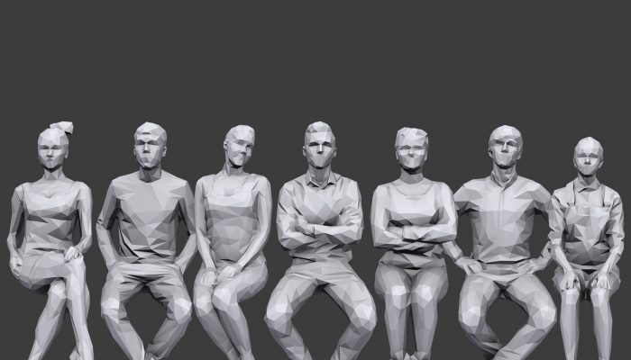 Lowpoly People Sitting Pack Volume 7