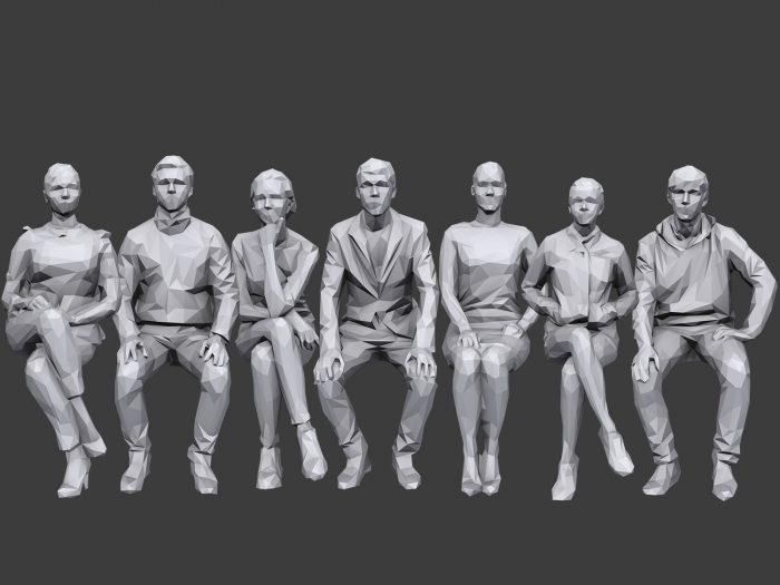 Lowpoly People Sitting Pack Volume 6