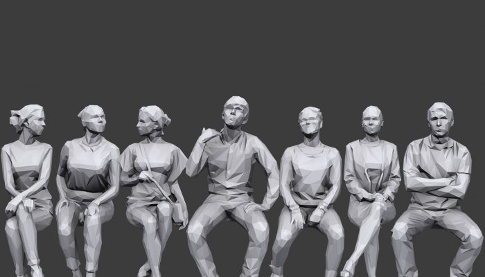 Lowpoly People Sitting Pack Volume 5