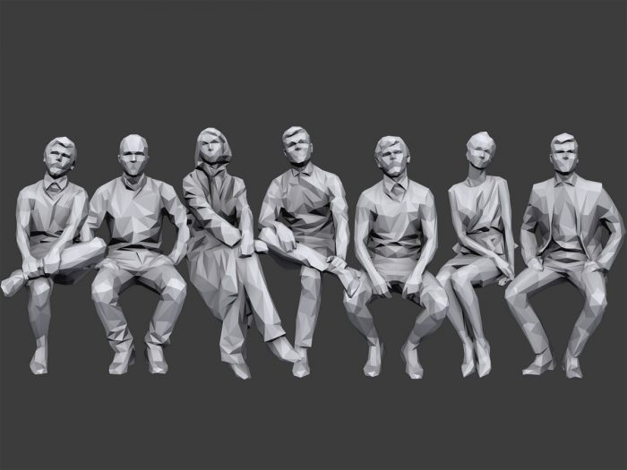 Lowpoly People Sitting Pack Volume 4