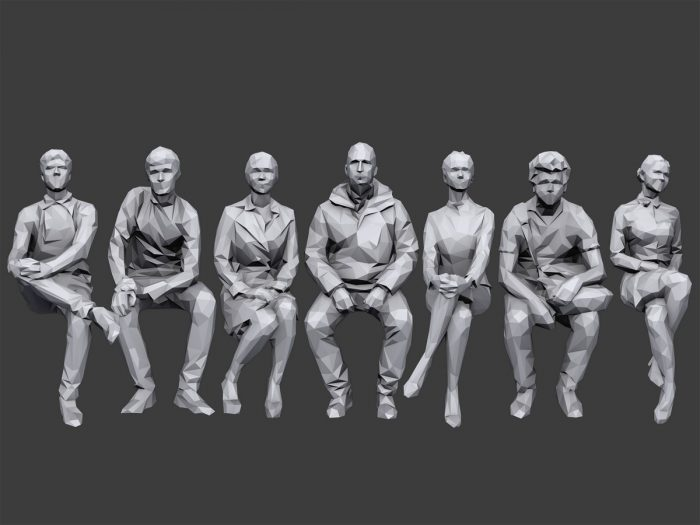 Lowpoly People Sitting Pack Volume 2