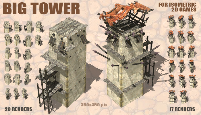 Big Towers for Isometric 2D games