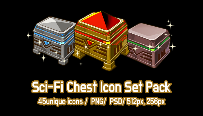 Sci-Fi Chest Icon Set Pack