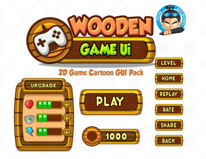 Wooden Cartoon Game Ui Set 03