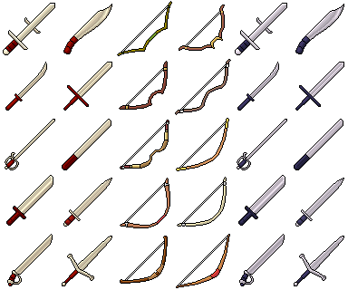Pixel Art Swords & Bows