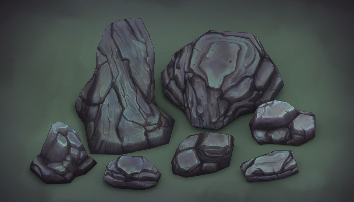 3d Hand Painted Rock Set