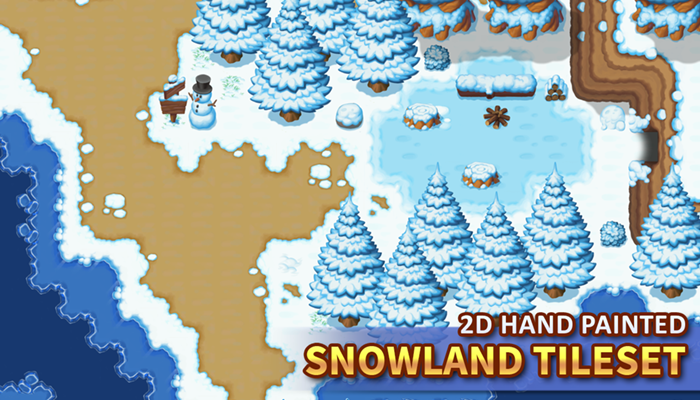 2D Hand Painted – Snowland Tileset