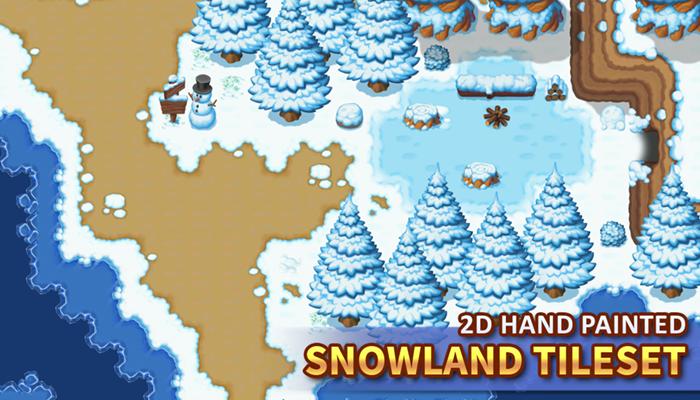 2D Hand Painted – Snowland Tileset