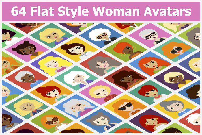 64 Flat Style Woman Avatars