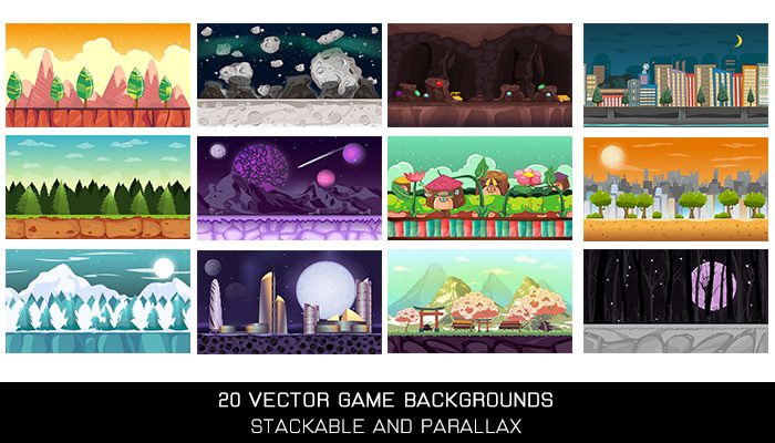 20 Vector Parallax Backgrounds