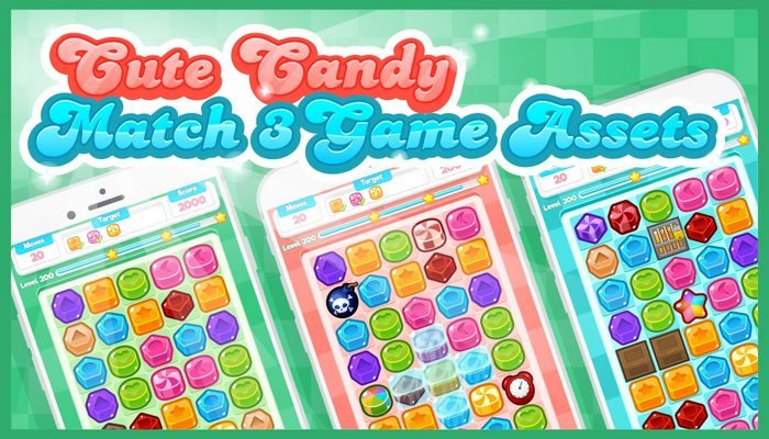 Cute Candy – Match Three Game Assets