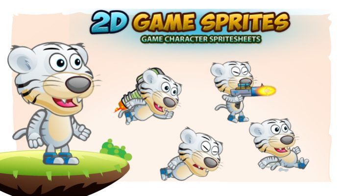 White Tiger 2D Game Character Sprites