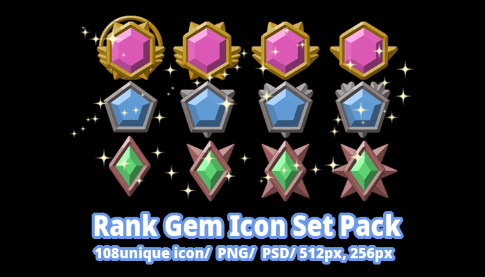 Rank Gem Icon Set Pack