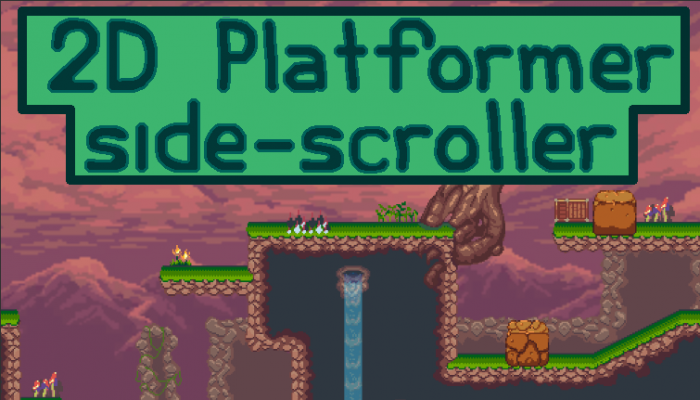 2D pixel platformer mountain tileset