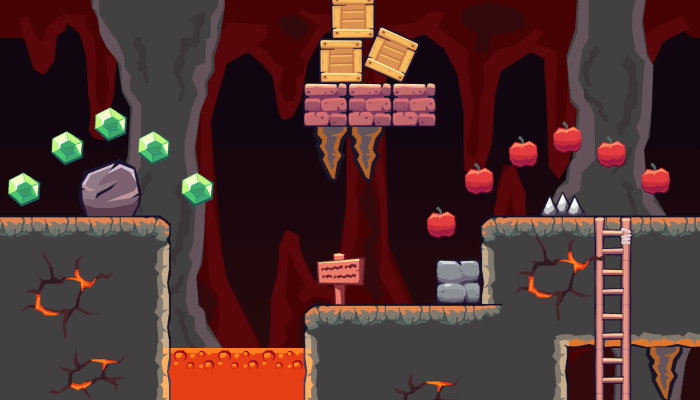 2D Seamless Tileset – Lava Cave Area