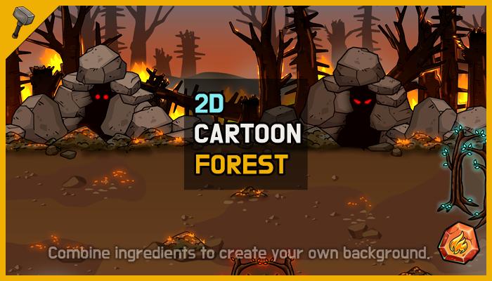 [Fire] Fantasy 2D Background : Burning Forest