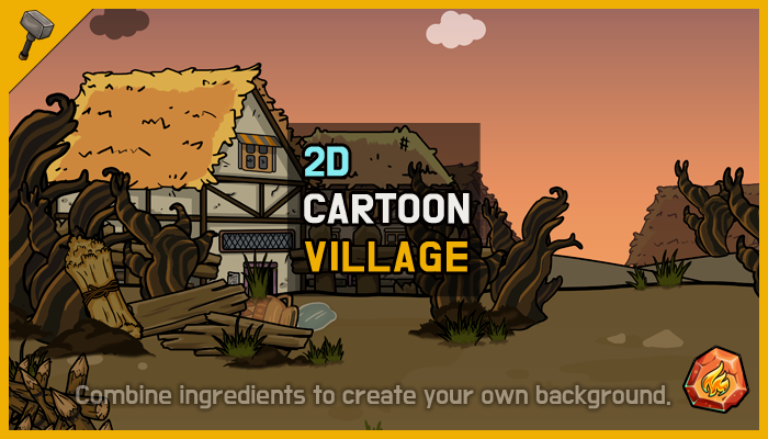 [Fire] Fantasy 2D Background : Village