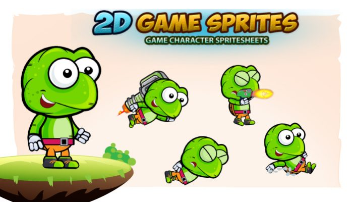 Turtle 2D Game Character Sprites