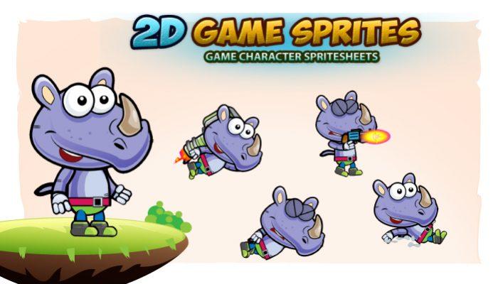 Rhino 2D Game Sprites