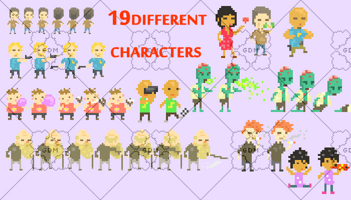 Kit 19 Pixel City Characters