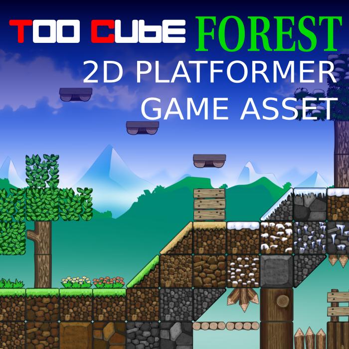 TooCubeForest, the free 2D platformer tileset