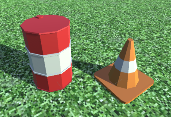 Low poly Cone and Barrel