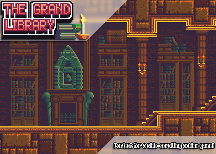 The Grand Library – Pixel Art Sidescroller Tileset