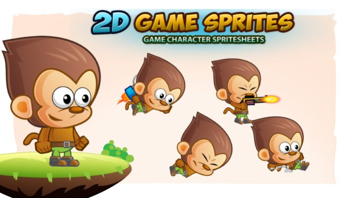Monkey 2D Game Character Sprites