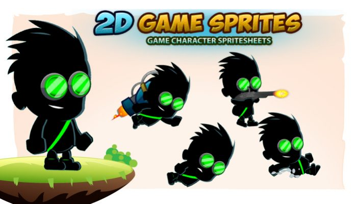 Shadow Boy 2D Game Character Sprites