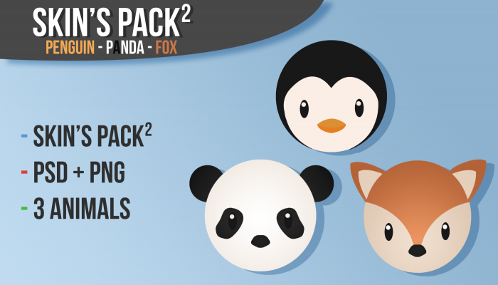 Animals – Fox Panda Penguin – Cartoon skins bundle