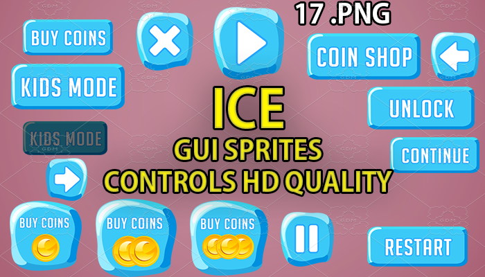 ice buttons GUI hd quality 17 .png files