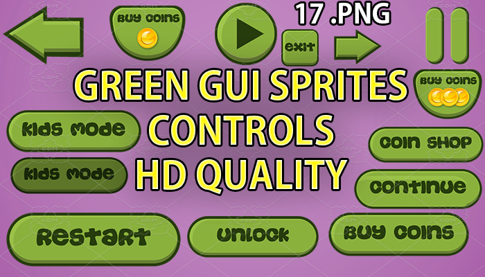 green GUI hd quality 17 .png files
