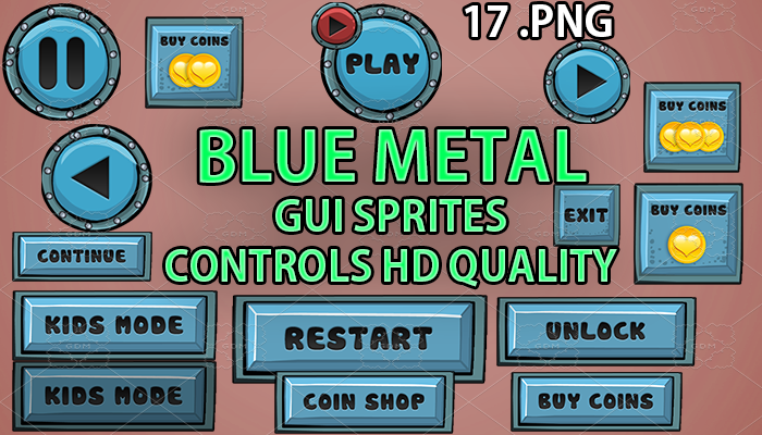 BLUE METAL GUI hd quality 17 .png files