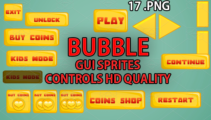 BUBBLE yellow GUI hd quality 17 .png files