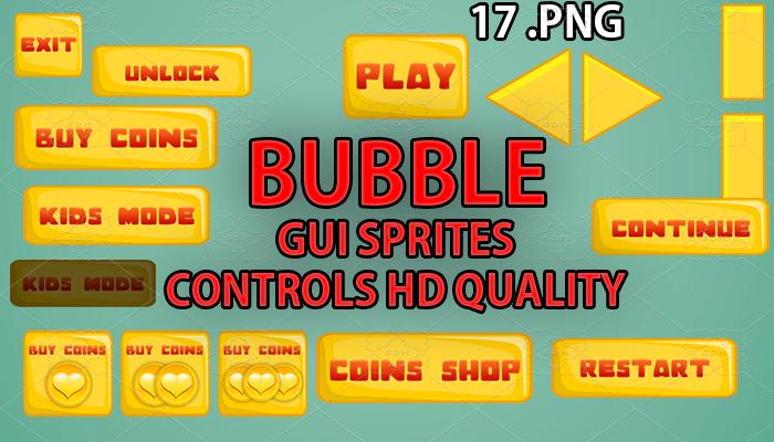 BUBBLE yellow GUI hd quality 17 .png files