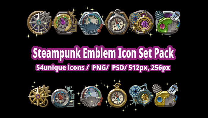 Steampunk Emblem Icon Set Pack
