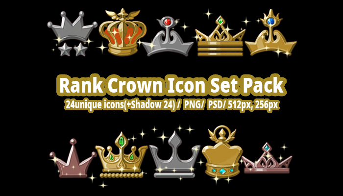 Rank Crown Icon Set Pack