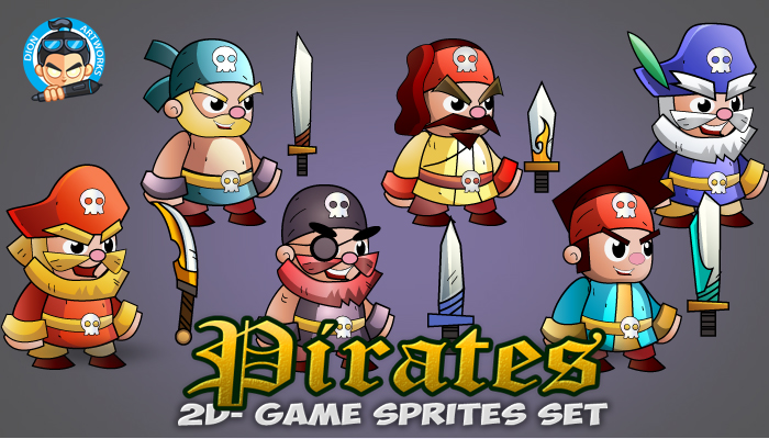 6 Pirates 2D Game Character Sprites Set