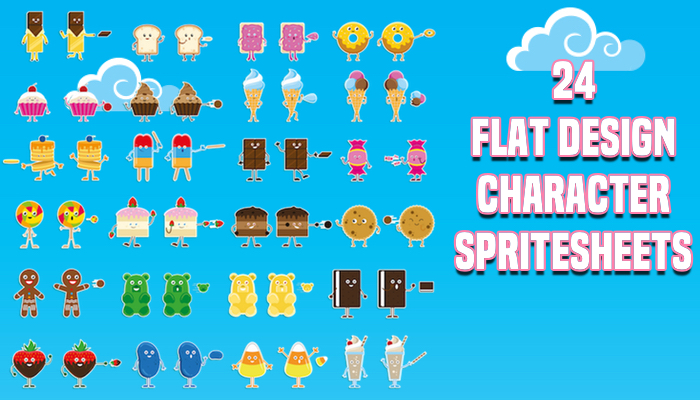 Food & Candy Flat Design Character Spritesheets