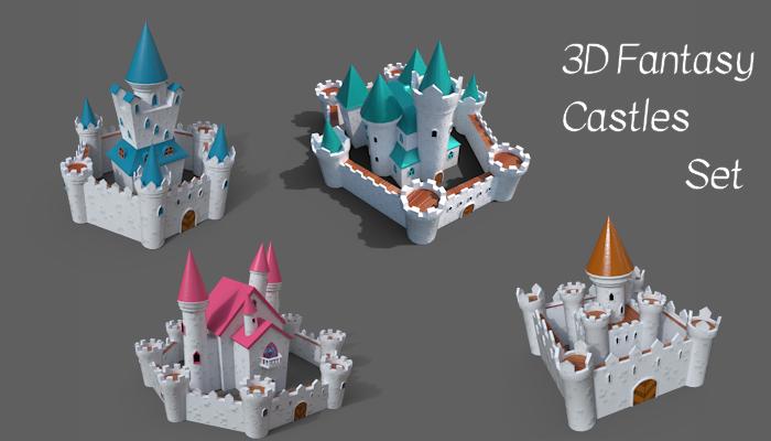 3d Fantasy Cartoon Castles set