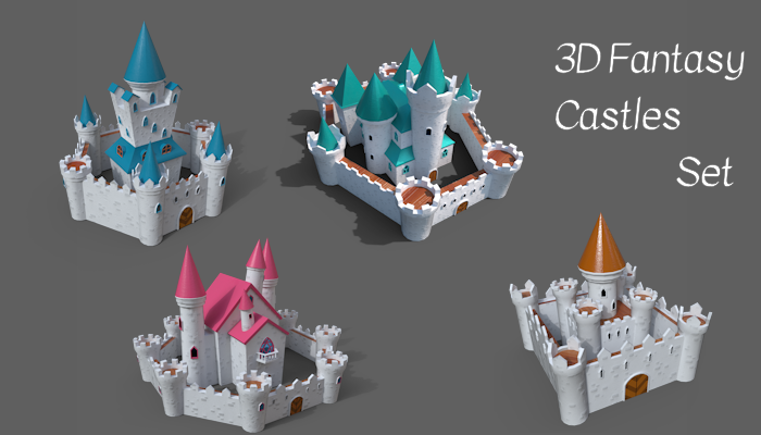 3d Fantasy Cartoon Castles set